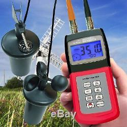 Anemometer 3-Cup Sensor Air Flow Temp Wind Speed Height Direction Tester Meter