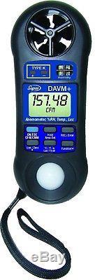 DAVM+ Supco Digital Air Flow / Volume Meter FPM CFM Temperature Humidity LUX