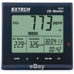 Extech Desktop Indoor Air Quality CO2 Monitor CO100 IAQ Health Temp Humidity
