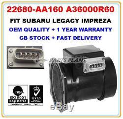 Mass Air Flow meter sensor 22680-AA160 A36000R60 for SUBARU LEGACY IMPREZA TURBO