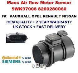 Mass Air Flow meter sensor 5WK97008 8200280060 for OPEL VAUXHALL GENUINE OEM