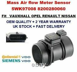 Mass Air Flow meter sensor 5WK97008 8200280060 for RENAULT NISSAN VAUXHALL VDO