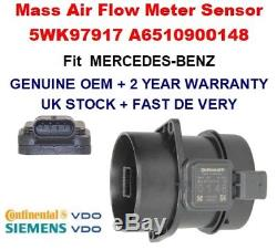 Mass Air Flow meter sensor 5WK97917 A6510900148 for MERCEDES BENZ GENUINE OEM