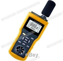 New Temperature+Humidity+Light/Lux+Air FlowithAnemometer+Sound Level Meter Tester