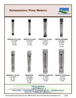 PRM 5-50 SCFM Rotameter Viton Seals 1-½ MNPT Air/Gas Flow Meter