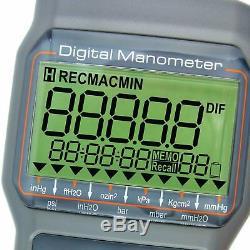 Professional Manometer Digital Dual Port Differential Air Pressure Gauge Meter